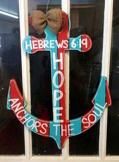 Anchor Door Hanger, Summer Door Hanger, Beach, Red and Blue, Hope Anchors the Soul on Etsy, $35.00
