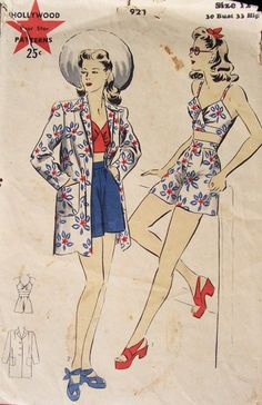 Hollywood 921 -- ca. 1942 -- Beach ensemble. Coat has a notched collar, two patch pockets, and straight sleeves. Fitted bra with gathers at center front, button in back. Shorts are gathered at the waistband and button at left side. | Vintage Patterns Wikia