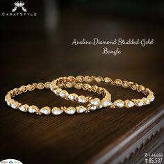 Gold Bangles, Bangle Bracelets, Designer Jewelry, Jewelry Design, Bagels, Blouse Patterns, Gold Studs, Jewerly, Mango