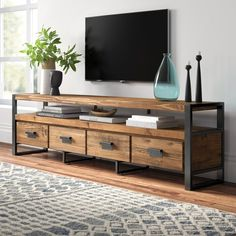 Kylee Solid Wood TV Stand for TVs up to 88 inches – Mein Stil Metal Tv Stand, Solid Wood Tv Stand, Tv Stand Natural Wood, Wood Tv Stands, Rustic Tv Stands, Living Room Tv, Home And Living, Tv Stand Ideas For Living Room, Reclaimed Wood Tv Stand