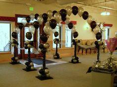 balloon arch balloon decor balloon wedding decor… More Balloon arch entryway. Balloon Tower, Ballon Arch, Balloon Columns, Balloon Garland, Ballon Ballon, Balloon Stands, Wedding Balloon Decorations, Prom Decor, Wedding Balloons