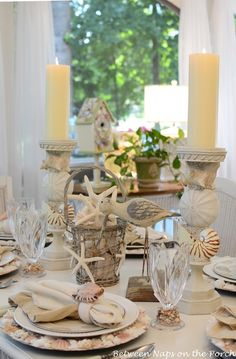 Beach Table Setting Nautical Tablescape with Shell Chargers and Shell Napkin Rings