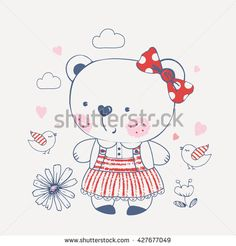 bear/ hand drawn vector illustration of cute baby bear/ for baby girls T-shirt Graphic/ kid's or baby's shirt design/fashion print design/fashion graphic/t-shirt/kids wear /tee