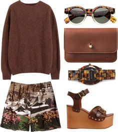 """""""BROWN"""" by clourr ❤ liked on Polyvore"""