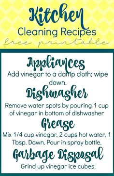 Kitchen Cleaning Recipes with Vinegar {Free Printable} sewlicioushomedecor.com