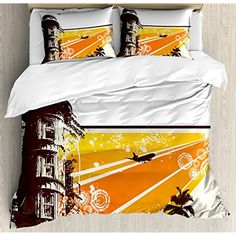 Duvet Cover Set,Back of Khaki,Lantern,Decorative Chinese Lanterns Hang on The Air New Year Asian Art Style Graphic Design Decorative,Red Orange,Decorative 3 Pcs Bedding Set by 2 Pillow Shams,Twin Toys & Games