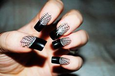 spiderweb nails black tips