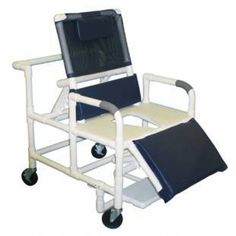 "Bariatric Bariatric Shower Chair with ELR - PVC -   Bariatric Reclining Chair Comes with Full Support Seat. Internal Width: 26 * External Width: 30. Threaded Stem Casters: 3 x 1 1/4. Overall Size: 50 H x 30 W x 22 D. Seat Height: 22"". Reclined Back : 27"". Weight Capacity: 600 lbs Sliding Footrest & Elevated Legrest. Color choices: yellow, tan, mauve, forest green, red, black, grey, light blue, royal blue, white, navy, teal (mesh only), mint (vinyl only), clear (vinyl only)."