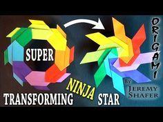 Super Transforming Ninja Star – Origami World Origami Toys, Origami Cube, Modular Origami, Paper Crafts Origami, Diy Origami, Origami Tutorial, Origami Claws, Origami Instructions, Origami Transforming Ninja Star