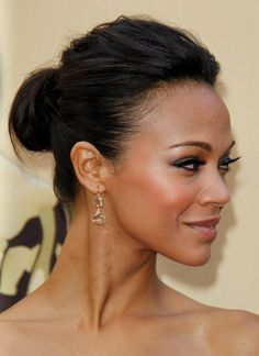 """Zoe Saldana with a classy updo, ideal for heart-shaped faces // """"Hot Hair: Buns for Every Face Shape"""" Zoe Saldana, Rock Hairstyles, Wedding Hairstyles, Bridesmaids Hairstyles, Layered Hairstyles, Good Hair Day, Bridesmaid Hair, Face Shapes, Hair Dos"""