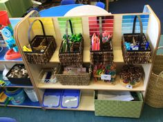 Continuous provision in the creative area, love how the resources are sorted by colour Year 1 Classroom, Early Years Classroom, Eyfs Classroom, Classroom Layout, Classroom Organisation, Classroom Design, Classroom Displays, Classroom Decor, Preschool Rooms