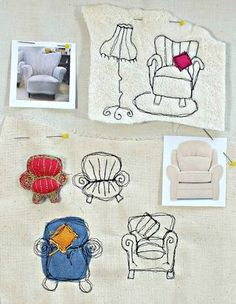 free-motion embroidery sketches of armchairs, on muslin and on thin white felt, by Rosiepink.    #badges comfy chair