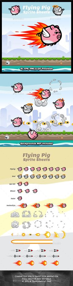Game Character Flying Pig Sprite Sheets — Vector EPS #cartoon #pokemon • Available here → https://graphicriver.net/item/game-character-flying-pig-sprite-sheets/10459512?ref=pxcr