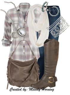 feat. Premier Designs jewelry #pdstyle plaid shirt, white scarf, brown bag, brown boots