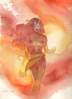 ESAD RIBIC - Phoenix Watercolor Commission Example - Now Accepting Commissions for the New York Comic Con: October 10th - 13th Comic Art