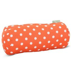 Majestic Home Goods 85907222072 Orange Ikat Dot Round Bolster Pillow 18.5x8