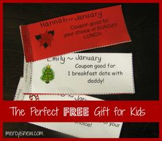 The Perfect {free} Gift For My Kids-love this coupon idea for the kids!