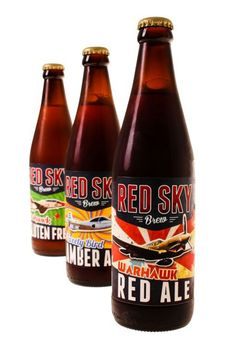 Red sky brew lineup.  Red sky beer lineup. Product shot courtesy of Done Before Dinner, photographer Marike Meyer