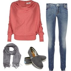I like this outfit as a fall outfit. I would wear this to school. I like the scarf and how it matches with the toms. I think this outfit all comes together really nicely. Except I wouldn't pair it with toms, I would choose boots or Vans or something like that.