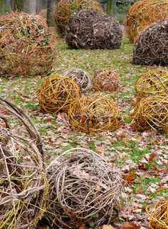 The School of Paris Florists recent installation at the Parc Floral de Paris, weaving pliable branches and other elements found through out the garden into simple spheres of varying sizes and colors