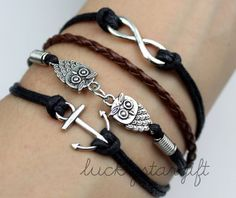 Cool the anchor charm infinite & owl bracelet Cool the anchor charm infinite & owl bracelet with black rope woven brown leather cord knitting fashion bracelet-Q097luckystargift, $4.69