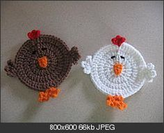 chicken coasters - free crochet pattern.  Could use in Easter basket instead of a coaster