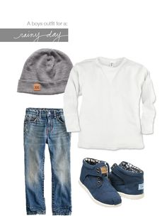 Rainy day outfit. White tee, jeans, toms, beanie. So cute.