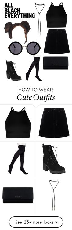 """Modern girl ;)"" by mallory-ward on Polyvore featuring Ksubi, Boohoo, HUE, Givenchy, The Row, modern and allblackoutfit"