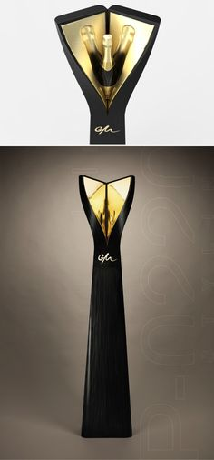 100% PACKAGING &DESIGN SA | Totem Glorifier Champagne designed by Pozzo di Borgo Styling. Made by RS Agencement Steiner, Gainerie Moderne, Huguenin-Sandoz.
