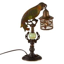 Rare Romance Revival Parrot Table Lamp C1925