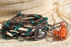 Teal 5 Wrap Crochet Bracelet - Wire Wrapped Basket Full Of Orange Glass Beads - Brown Waxed Linen Cord - Heart Button