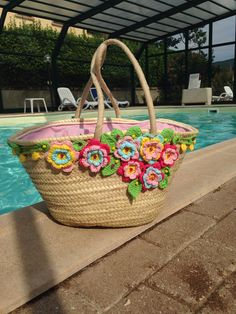 Best Ideas For Knitting Bag Diy Handbags Crochet Shell Stitch, Crochet Tote, Crochet Handbags, Crochet Purses, Diy Crochet, Diy Sac, Flower Bag, Straw Handbags, Diy Handbag