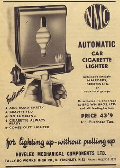 Odd Vintage Automatic Car Cigarette Lighter Ad by Novelic Mechanical Componets Vintage Cards, Vintage Signs, Vintage Posters, Vintage Auto, Old Advertisements, Car Advertising, Radios, Automatic Cars, Retro Ads