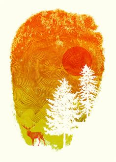 Nature's Print Nature Deer Forest Print by yeohghstudio on Etsy, $30.00