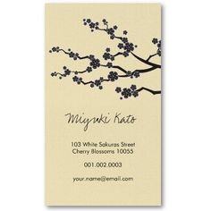 Black Sakura Cherry Blossoms Flowers Oriental Zen Business Card Template by fatfatin Chinese Cherry Blossom, Sakura Cherry Blossom, Cherry Blossom Flowers, Zen Chinese, Custom Business Cards, Name Cards, Brand Packaging, Creative Cards, Identity Design