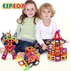 32PCS Regular Enlighten Bricks Educational Magnetic Designer Toy Square Triangle DIY Building Blocks Bricks Toys for Children