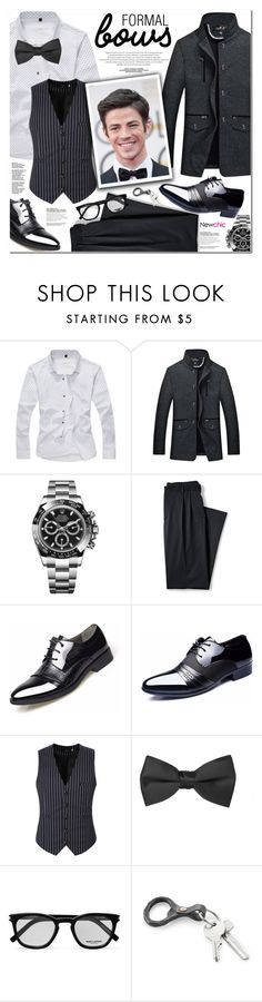 """NEWCHIC 7"" by nanawidia ❤ liked on Polyvore featuring Rolex, Lands' End, Yves Saint Laurent, men's fashion and menswear"