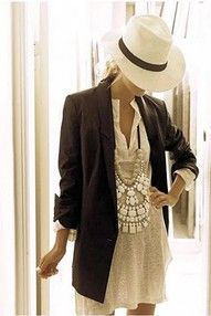 Boho dress and blazer with a hat? Adorable!