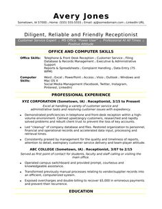 free receptionist resume sample