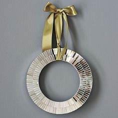 modern holiday wreath...I have these...love the ribbon idea.