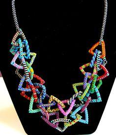 Nita E Kaufman - added 2nd strand to Donna T's necklace. Fun patterns; fun fun fun!!!