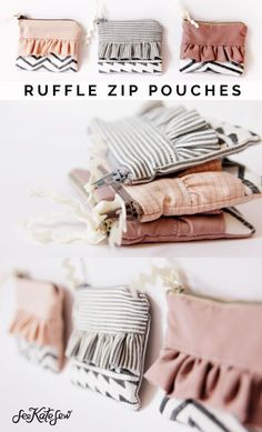 ruffle zipper pouch with geometric stitching tutorial Ruffle Zip Pouches with Decorative Stitching & diy zipper pouch & free sewing tutorials & zipper pouch tutorial & diy sewing projects & See Kate Sew Diy Sewing Projects, Sewing Projects For Beginners, Sewing Hacks, Sewing Tutorials, Sewing Crafts, Sewing Tips, Diy Projects To Try, Diy Gifts Sewing, Gifts To Sew