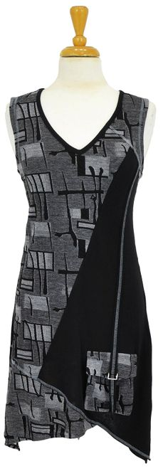 Grey Black Sleeveless Tunic ~ Best selection of Tunics & matching accessories ~ Flat postage worldwide ~ Petite to Plus sizes ~ www.ilovetunics.com