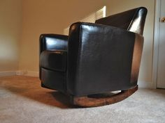 DIY-Turn a comfy armchair into a great rocker with a few easy steps from tommyandellie.com