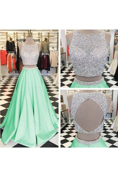 Beaded Two Pieces Mint Green Prom Formal Evening Party Dresses 3021464