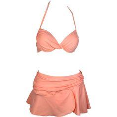 Orange Triangle Bikini Set ($51) ❤ liked on Polyvore