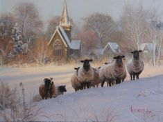 Come Unto Me by Mark Keathley ~ sheep winter snow chapel houses