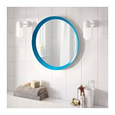 IKEA - LANGESUND, Lustro, niebieski, , Ochronna folia zmniejsza uszkodzenia w przypadku stłuczenia szyby.Nadaje się do użytku w większości pomieszczeń, przetestowane i zatwierdzone do stosowania w łazience.
