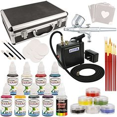 Master Airbrush Deluxe Face and Body Painting Kit with 16 Water-Based Airbrush...