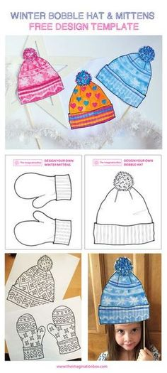 The ImaginationBox: design a funky winter bobble hat and mittens with these free templates - a watercolour wash over white wax crayon pattern creates an interesting nordic style effect